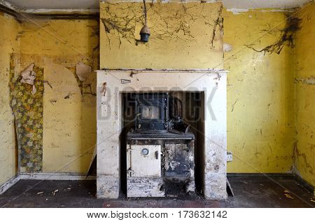 Interior of a derelict house - fireplace