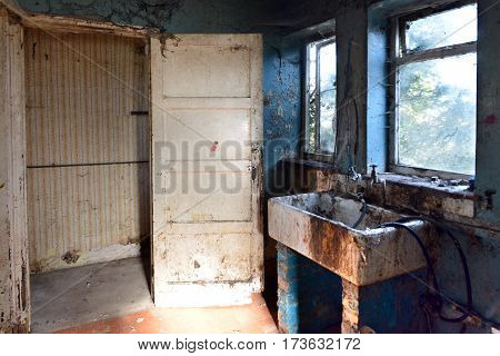 Interior of a derelict house - kitchen