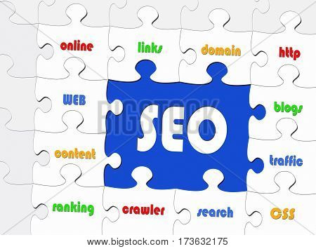 SEO - Search Engine Optimization - puzzle with text