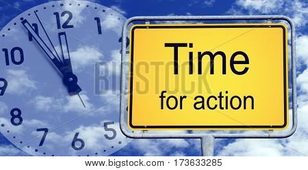 Time for action - yellow sign with clock