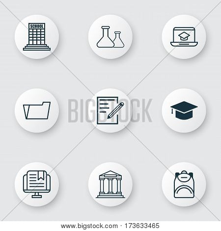 Set Of 9 Education Icons. Includes Haversack, College, Chemical And Other Symbols. Beautiful Design Elements.