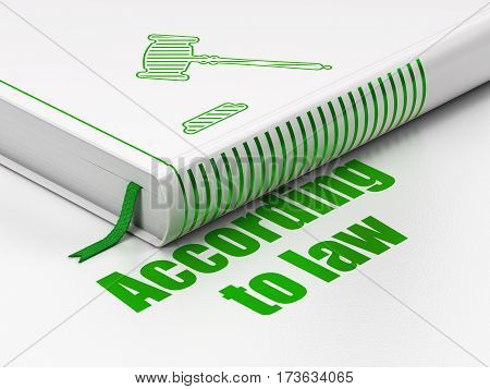 Law concept: closed book with Green Gavel icon and text According To Law on floor, white background, 3D rendering