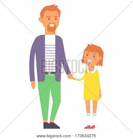 Family people adult happiness smiling father daughter togetherness parenting concept and casual parent, cheerful, lifestyle happy character vector illustration. Healthy joyful young human generation.