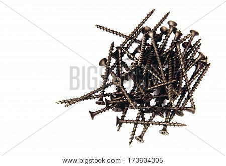 dark screws on isolated cutout. close-up crop on white background.