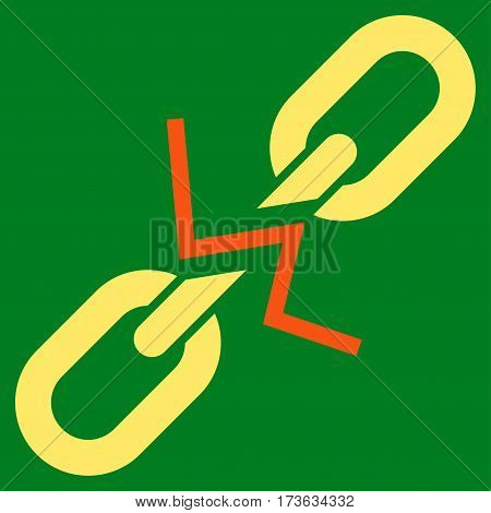 Broken Chain Link vector icon. Flat bicolor orange and yellow symbol. Pictogram is isolated on a green background. Designed for web and software interfaces.