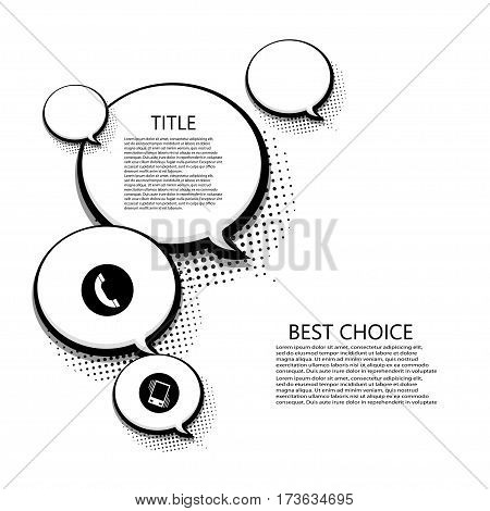 Vector modern halftone bubble speech icons business and technology background