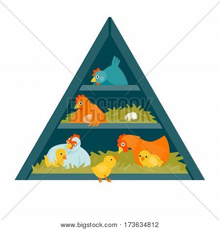 Henhouse in shape of triangle with funny birds vector illustration cartoon style