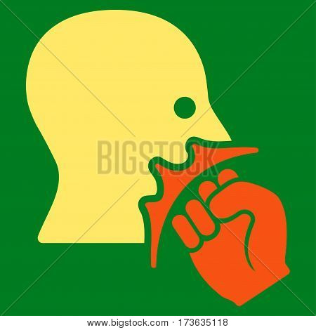 Face Violence Strike vector icon. Flat bicolor orange and yellow symbol. Pictogram is isolated on a green background. Designed for web and software interfaces.