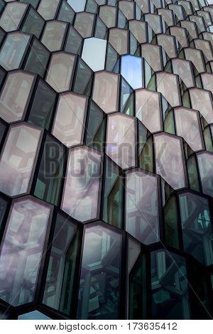 Reykjavik Iceland - 24 September 2016: Hapra Concert a landmark of the city with glass windows on the waterfront of central Reykjavik