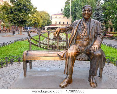 Odessa, Ukraine - July 20, 2016: Monuments to famous artist in Odessa garden. Bronze monument to Leonid Utesov in Odessa, Ukraine