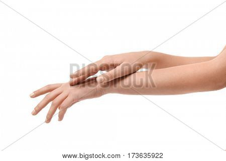 Hands of young woman on white background