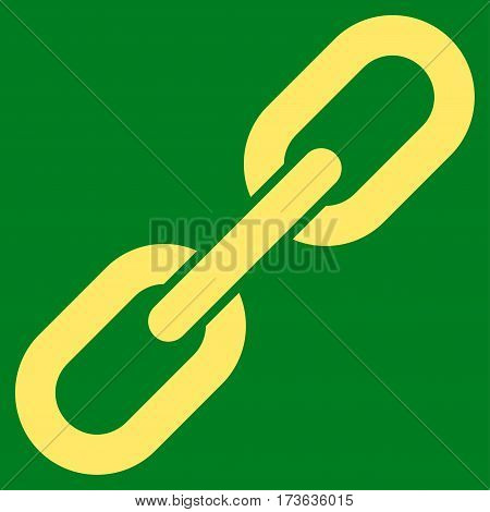 Chain Link vector icon. Flat yellow symbol. Pictogram is isolated on a green background. Designed for web and software interfaces.