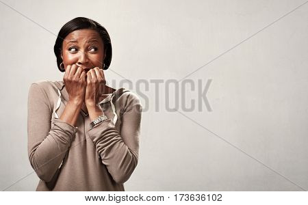 Scared black woman.