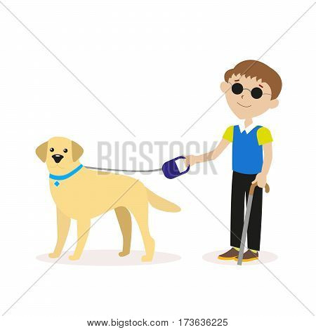 Guide-dog. Blind boy with guide dog. Disability blind person concept. Flat character isolated on white background. Vector, illustration EPS10