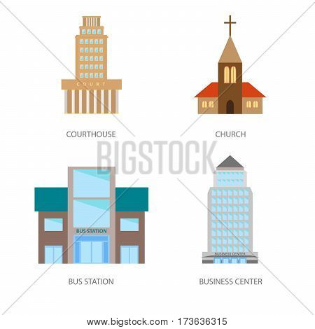 Set of urban buildings in a flat style. Courthouse, church, bus station and business center. Vector, illustration in flat style isolated on white background EPS10
