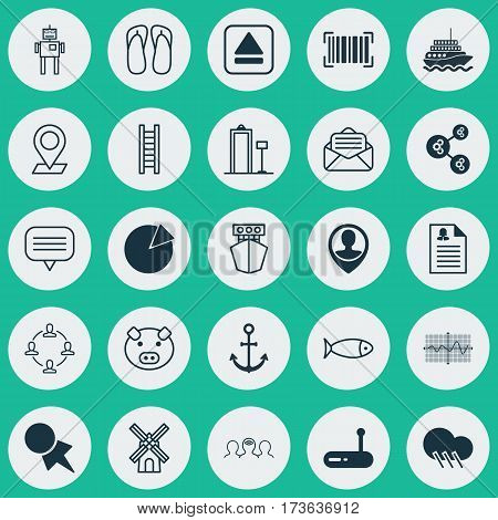 Set Of 25 Universal Editable Icons. Can Be Used For Web, Mobile And App Design. Includes Elements Such As Router, Crooked Graph, Ship Hook And More.