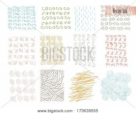 Hand Drawn Hipster Textures Made with Ink. Retro Patterns for Posters, Flyers and Banner Designs. Vector Brushes and Decor Elements. Isolated on White Background. Abstract Hand Drawn Ink Strokes