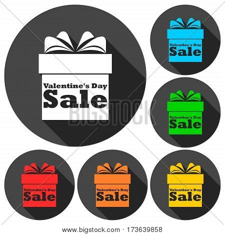 Valentines Day Sale - Gift box icons set with long shadow