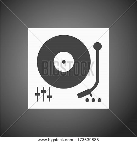 Simple Gramophone icon on gray background, vector