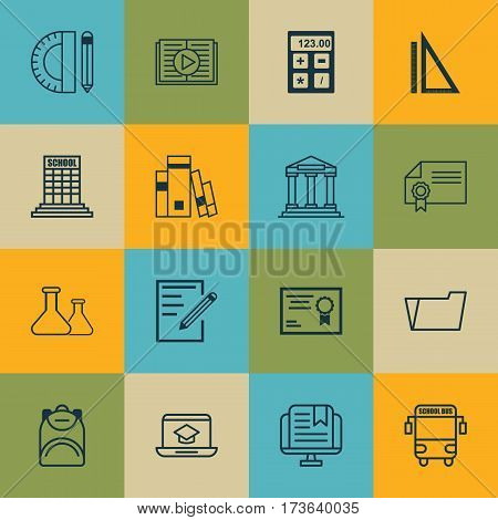 Set Of 16 Education Icons. Includes Haversack, Certificate, Taped Book And Other Symbols. Beautiful Design Elements.