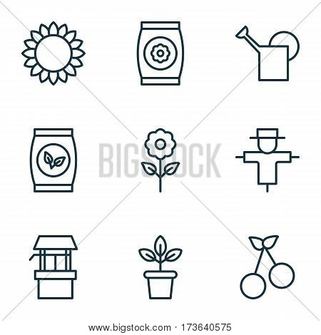 Set Of 9 Holticulture Icons. Includes Flowerpot, Sweet Berry, Bugbear And Other Symbols. Beautiful Design Elements.