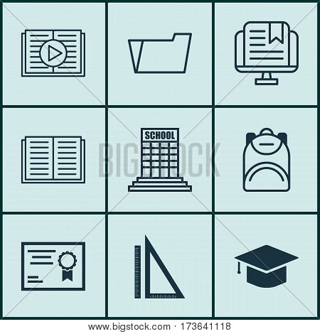 Set Of 9 School Icons. Includes Academy, Haversack, Measurement And Other Symbols. Beautiful Design Elements.