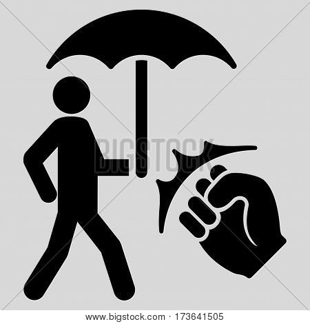 Crime Coverage vector icon. Flat black symbol. Pictogram is isolated on a light gray background. Designed for web and software interfaces.