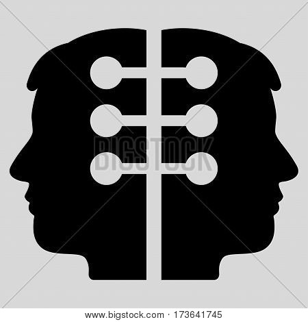 Dual Head Interface vector icon. Flat black symbol. Pictogram is isolated on a light gray background. Designed for web and software interfaces.