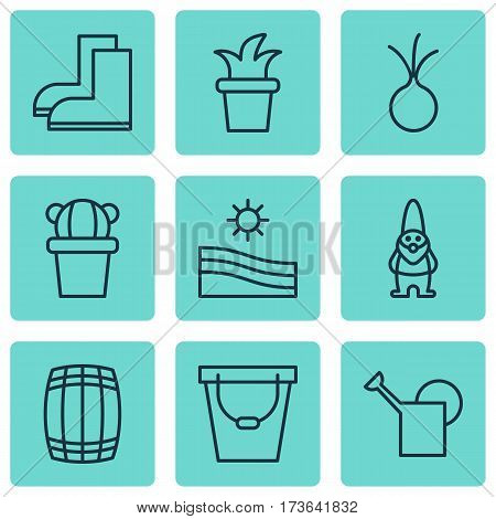 Set Of 9 Agriculture Icons. Includes Dwarf, Desert Plant, Pail And Other Symbols. Beautiful Design Elements.