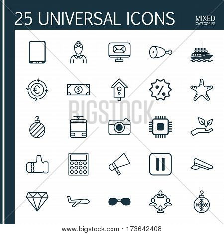 Set Of 25 Universal Editable Icons. Can Be Used For Web, Mobile And App Design. Includes Elements Such As Fried Poultry, Save World, Bullhorn And More.