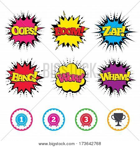 Comic Wow, Oops, Boom and Wham sound effects. First, second and third place icons. Award medals sign symbols. Prize cup for winner. Zap speech bubbles in pop art. Vector
