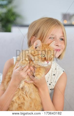 Attractive little girl with red fluffy cat on sofa in room