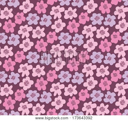 pink color summer floral vector illustration in retro 60s style. abstract hand drawn flowers seamless pattern for fabric, wrapping paper.