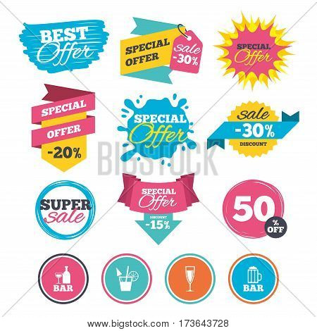 Sale banners, online web shopping. Bar or Pub icons. Glass of beer and champagne signs. Alcohol drinks and cocktail symbols. Website badges. Best offer. Vector