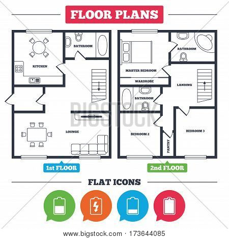 Architecture plan with furniture. House floor plan. Battery charging icons. Electricity signs symbols. Charge levels: full, half and low. Kitchen, lounge and bathroom. Vector