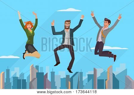 group of business people jumping high in front of modern cityscape