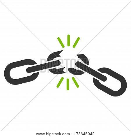 Chain Damage vector icon. Flat bicolor eco green and gray symbol. Pictogram is isolated on a white background. Designed for web and software interfaces.