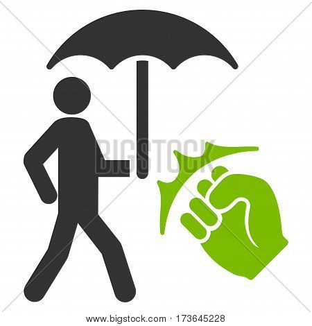 Crime Coverage vector icon. Flat bicolor eco green and gray symbol. Pictogram is isolated on a white background. Designed for web and software interfaces.