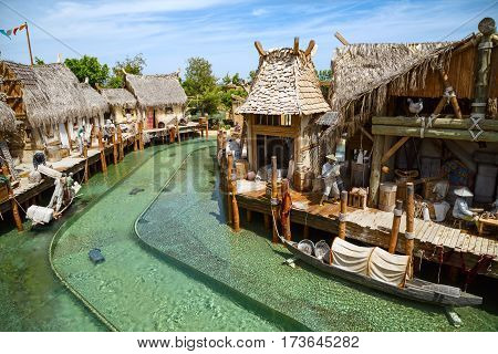 PORT AVENTURA/ SPAIN - MAY 11, 2015. Interactive water attraction Angkor located in the China area in the theme park Port Aventura in city Salou, Catalonia, Spain.