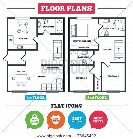 Architecture plan with furniture. House floor plan. Best mom and dad, brother and sister icons. Weight and flower signs. Award symbols. Kitchen, lounge and bathroom. Vector