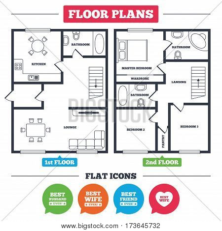 Architecture plan with furniture. House floor plan. Best wife, husband and friend icons. Heart love signs. Award symbol. Kitchen, lounge and bathroom. Vector