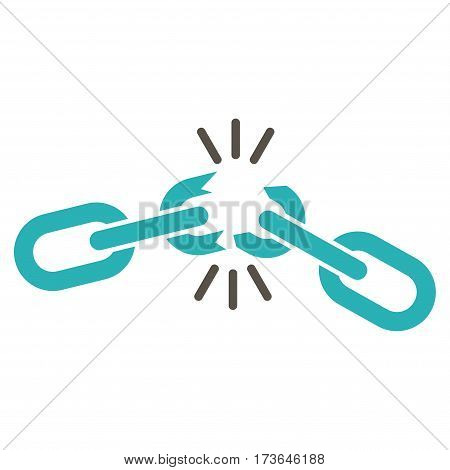 Chain Damage vector icon. Flat bicolor grey and cyan symbol. Pictogram is isolated on a white background. Designed for web and software interfaces.