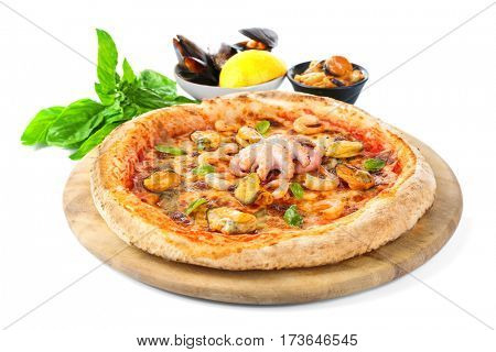 Tasty seafood pizza on wooden stand isolated on white