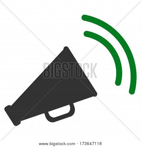 Announce Horn vector icon. Flat bicolor green and gray symbol. Pictogram is isolated on a white background. Designed for web and software interfaces.