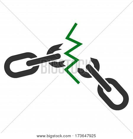 Broken Chain vector icon. Flat bicolor green and gray symbol. Pictogram is isolated on a white background. Designed for web and software interfaces.