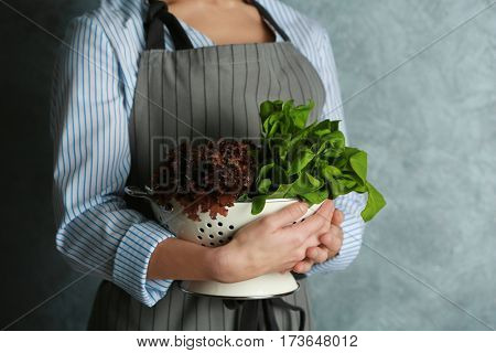 Woman in apron holding colander with fresh herbs, closeup