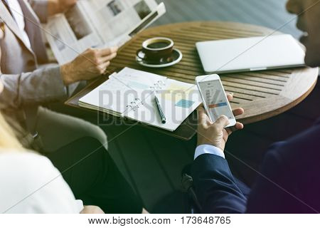 Photo Gradient Style with Businesspeople Sitting Talking Break Time