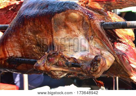 Roasting Ox in Thailand Festival in holliday