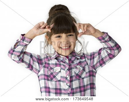 A little girl with a cheerful smile