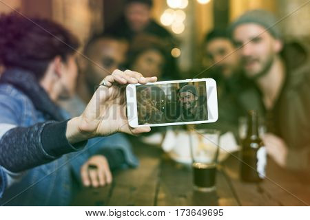 Use Mobile Phone Selfie Photo Group Friends